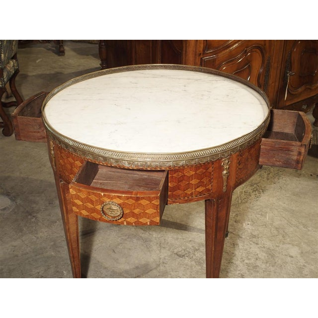 Metal 19th Century French 4-Drawer Marble Top Bouillote Table For Sale - Image 7 of 13