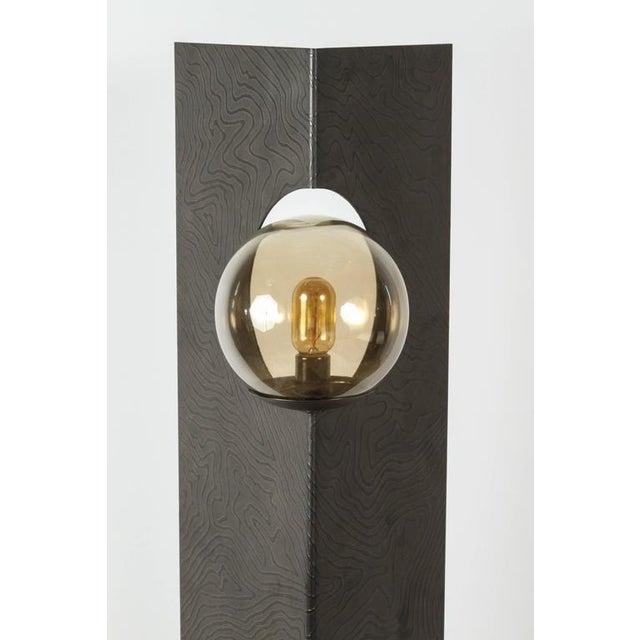 2010s Paul Marra Textured Steel Solitaire Floor Lamp For Sale - Image 5 of 8