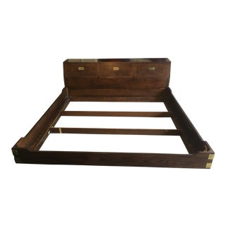 Vintage Henredon Campaign Scene One King Platform Bed For Sale