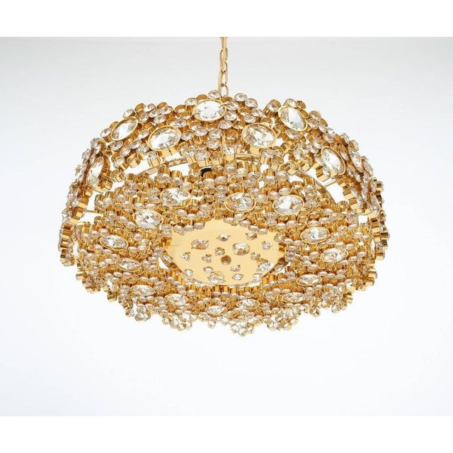 Pair Palwa Crystal Glass Gold Plated Brass Chandeliers Refurbished Lamps, 1960 For Sale - Image 6 of 10