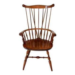 Windsor Captains Chair by Nichols & Stone Maple Fiddle Back For Sale