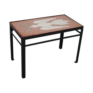 Studio Crafted Iron Side Table W/ Inlaid Bird of Peace Dove Marble Top For Sale