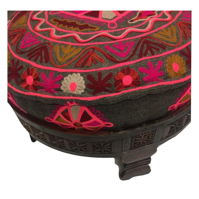 Indian Grinder Table & Embroidered Pouf Ottoman - Image 2 of 6