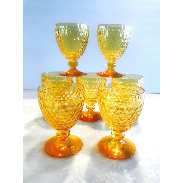 Vintage Crystal Amber Colored Wine Glasses by Villeroy & Boch, Set of Eight For Sale - Image 11 of 13