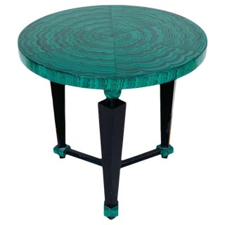 Tony Duquette Style Faux Malachite and Ebonized Guéridon or Side Table For Sale