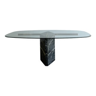 1980s Marble, Brass and Glass Dining Table For Sale