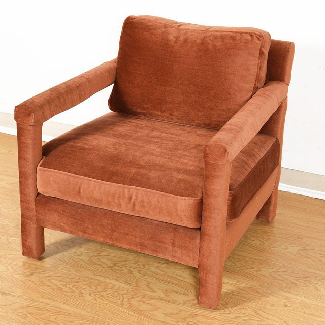 Copper Crushed-Velvet Upholstered Club Chair For Sale - Image 4 of 10