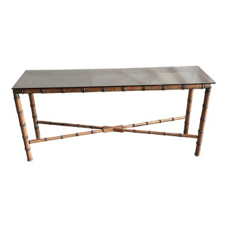 Burnt Bamboo Console Table For Sale