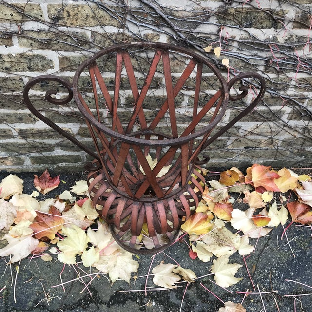 1960s Vintage Strap Iron Garden Urn For Sale - Image 4 of 6