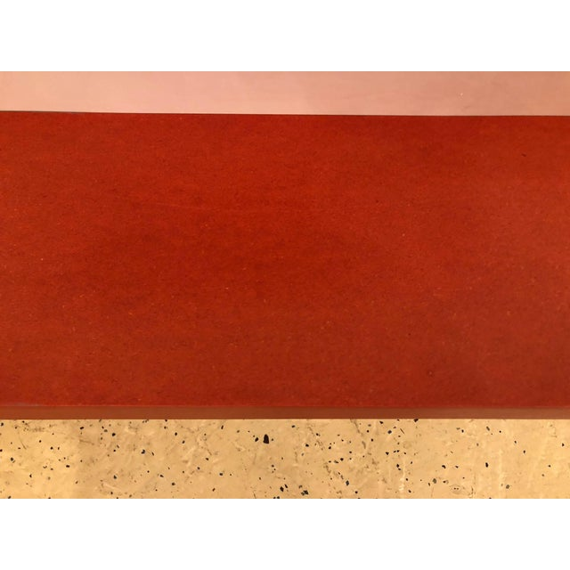 Mid 20th Century Faux Paint Decorated Pier Console or Wooden Bench in Dark Orange Paint For Sale - Image 5 of 9