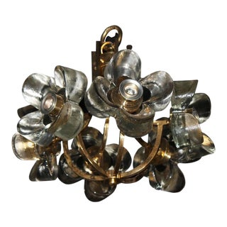 Murano Mazzega Glass & Brass Flower Chandelier For Sale