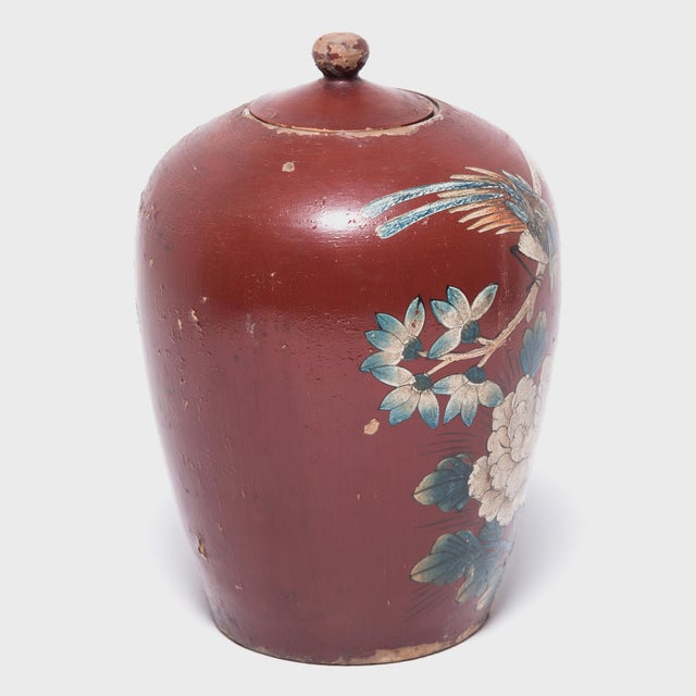 Early 20th Century Chinese Painted Oxblood Jars With Phoenix & Peonies - a Pair For Sale - Image 5 of 13