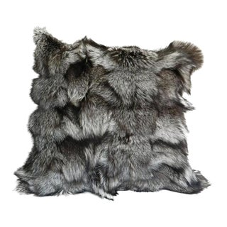 Gray Fox Fur Pillow For Sale