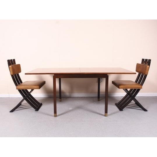 Animal Skin Rare & Outstanding Harvey Probber Games Table & Scissor Chairs For Sale - Image 7 of 11