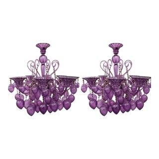 Purple Venetian Glass 8-Light Chandeliers - a Pair For Sale