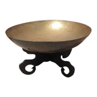 Brass Bowl on Wooden Pedestal