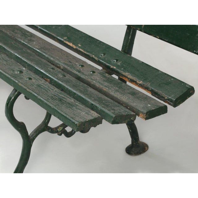 Green Antique French Cast Iron & Wood Garden Bench For Sale - Image 8 of 13