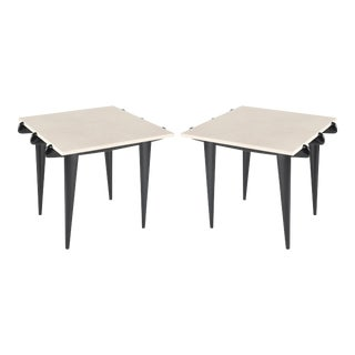 PAIR OF LIMESTONE AND EBONIZED WOOD ITALIAN END TABLES, CIRCA 1950S