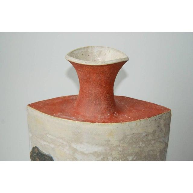 Circa 1980 R. Miller Slab Built Relief Stoneware Vase, For Sale - Image 4 of 6