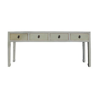Chinese Distressed Gray 4 Drawer Low Console Table For Sale