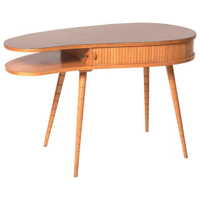 Light 1950s Ladies Desk or Vanity With Tambour Door Attributed to Eduard Ludwig For Sale - Image 13 of 13