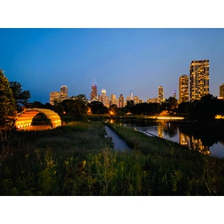 Nightime Chicago Skyline Photograph For Sale