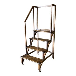 1930's Gothic Style Library Step/Ladder Stairs For Sale