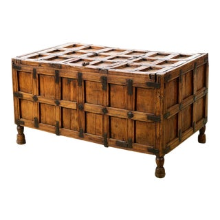 Antique Wood & Iron Trunk / Coffee Table