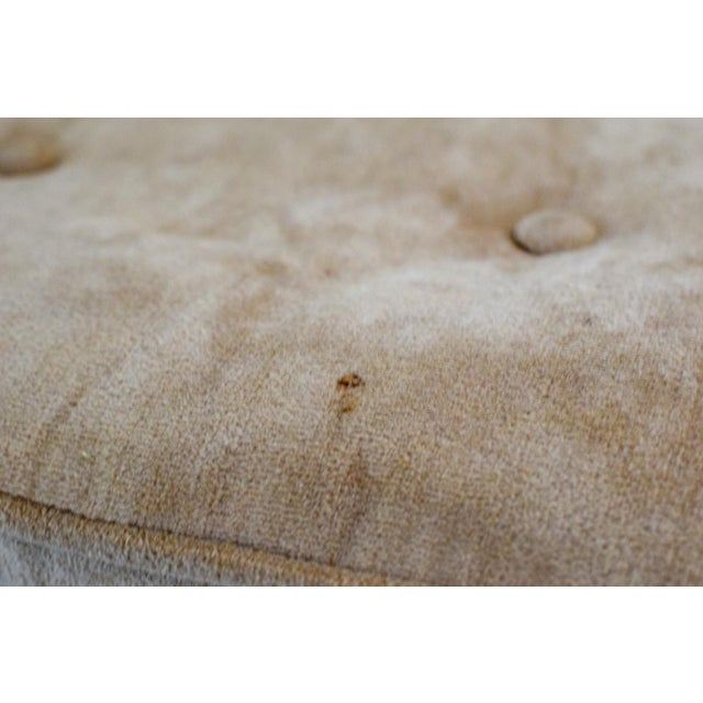 """Tan Vintage Mid Century Tan Mohair """"X"""" Benches- A Pair For Sale - Image 8 of 12"""