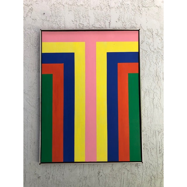 Canvas 1970s Vintage Large Opt Art Painting For Sale - Image 7 of 9