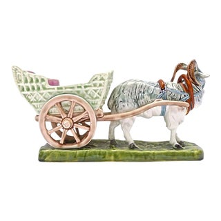 Antique Majolica Royal Dux Goat & Cart Cachepot For Sale
