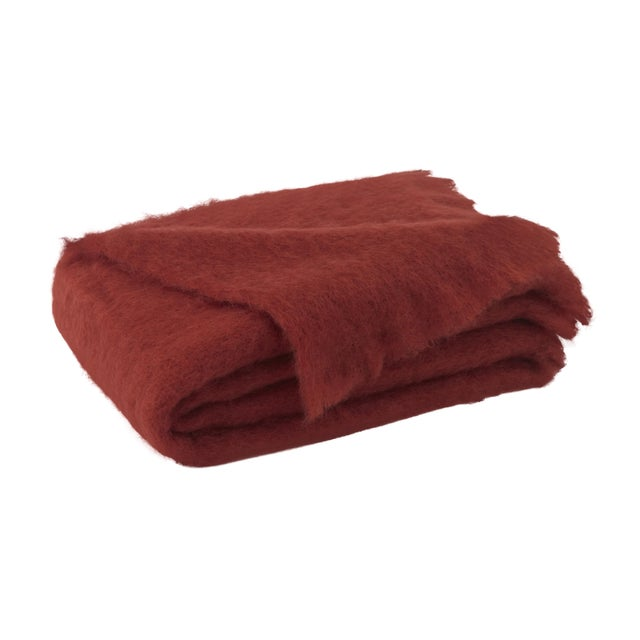 Russet Brushed Mohair Throw For Sale