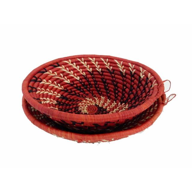 Spiral Handwoven Burundi Baskets - Set of 2 - Image 4 of 5