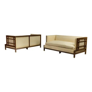 Pair of Walnut James Mont Loveseats For Sale