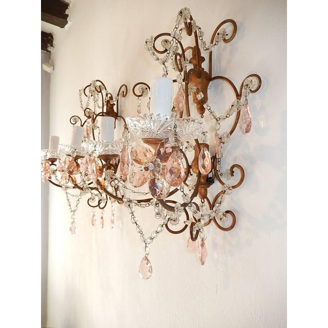 French Maison Baguès Style Pink Floral Crystal Sconces, circa 1920 For Sale - Image 10 of 11
