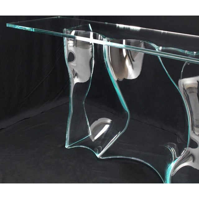 Glass Outstanding Free-Form Molded Glass Wave Pattern Console Table For Sale - Image 7 of 10