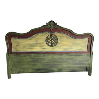 1990s French Country King-Sized Green and Yellow Wood Headboard