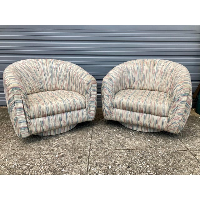 1980s Modern Milo Baughman Swivel Club Chairs - a Pair For Sale - Image 9 of 9