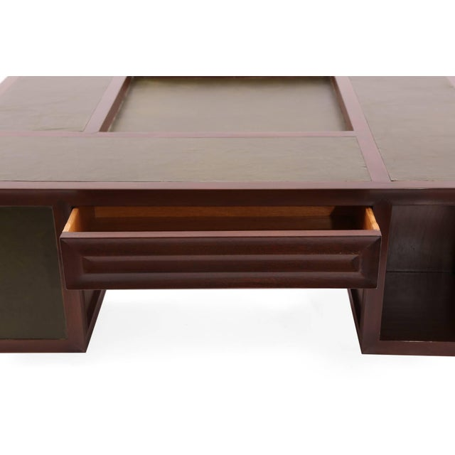 Mid-Century Modern Rare Johann Tapp Gumps Mahogany and Leather Cocktail Table For Sale - Image 3 of 9