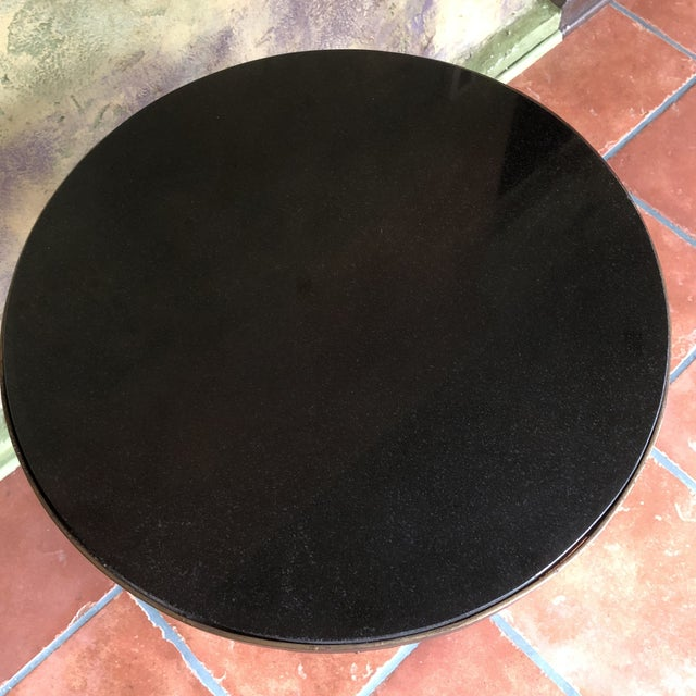 Horchow Gold Tassel Ebony Granite Side Table For Sale In Chicago - Image 6 of 12