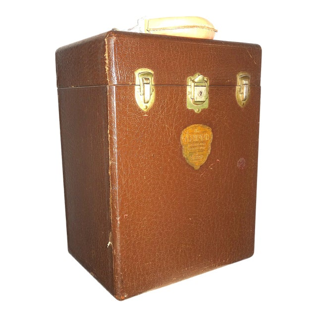 Cinema Projection Equipment Carry Case Box Circa 1940s. Made By Ampro Projector Company. Rare Embossed Emblem Case. For Sale