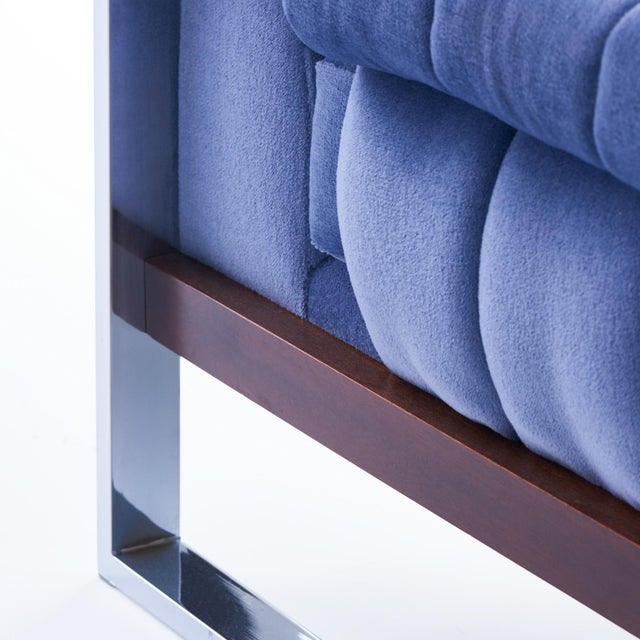 Blue Adrian Pearsall for Craft Associates Mohair, Wood & Chrome Lounge Chair - a Pair For Sale - Image 8 of 9