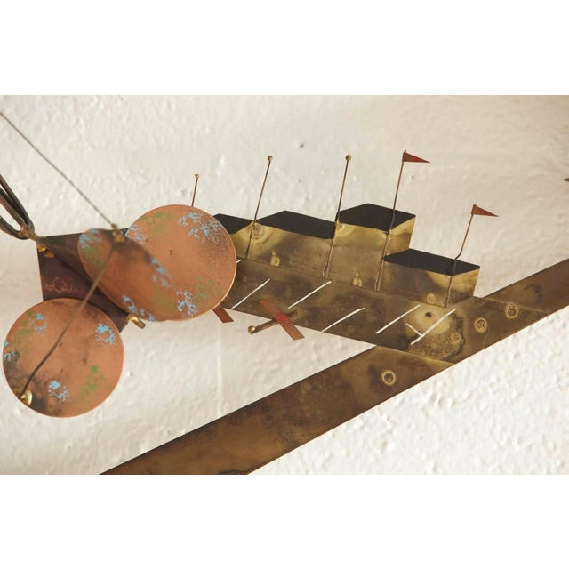 Mid-Century Modern Curtis Jere Brass Wall Sculpture of Airplanes and Airfield, Signed, 1970s For Sale - Image 3 of 11