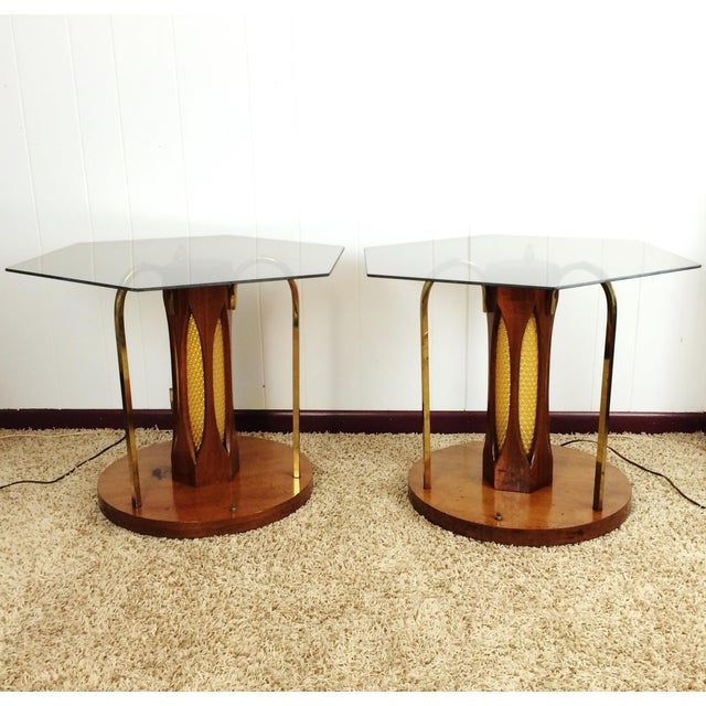 Mid-Century Wood and Glass Coffee & Lighted Side Table 3 Pc Set For Sale - Image 9 of 11