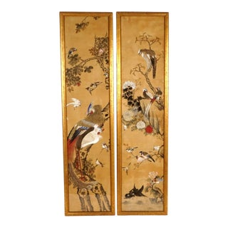 Chinese Watercolor on Silk Panels - a Pair For Sale