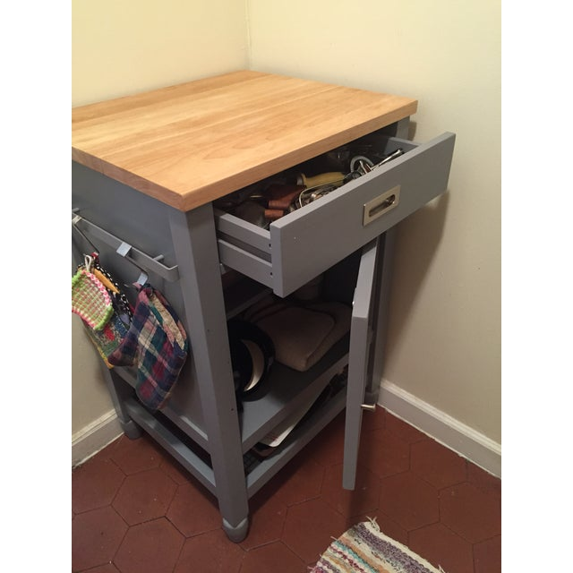 Wood Crate & Barrel Kitchen Island With Butcher Block For Sale - Image 7 of 10