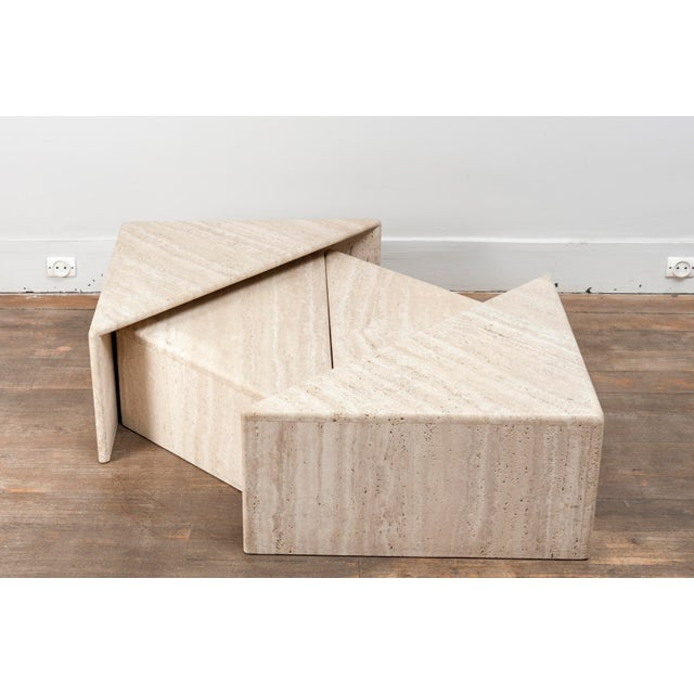 Tan A Large Set of Eight Travertine Elements Forming One or More Coffee Tables For Sale - Image 8 of 11