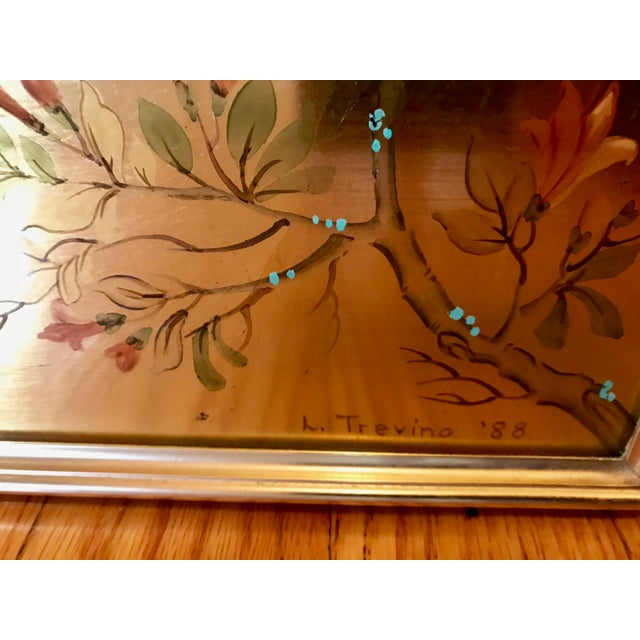 Gold LaBarge Chinoiserie Style Eglomise Mirror For Sale - Image 8 of 12
