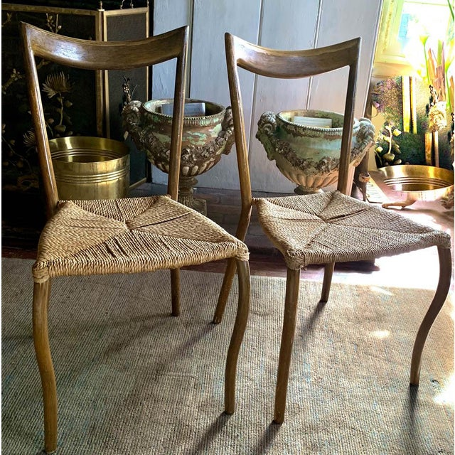 Boho Chic Pair, Mid Century Chairs With Rope Seats For Sale - Image 3 of 12