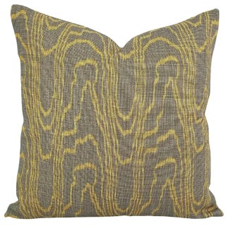 "Taupe and Gold Linen Pillow Cover - 20"" X 20"" For Sale"